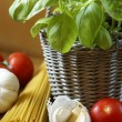 Fresh basil in flowerpot, pasta tomatoes and garlic. — Stock Photo