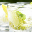 Fresh drink with ice cubes, lemon, lime and mint. — Stock Photo