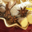 Decorative plate with ginger — Stock Photo