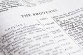Detail of the Bible opened on book of Proverbs — Stock Photo
