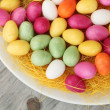Stock Photo: Candy eggs on plate