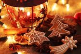 Gingerbread cookies, spices and Christmas lights. — Stock Photo