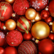 Red and golden Christmas ornaments. — Stock Photo