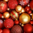 Stock Photo: Red and golden Christmas ornaments.