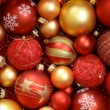 Red and golden Christmas ornaments. — Стоковое фото