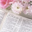 Holy Bible and flowers. — Stock Photo