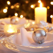 Table setting with Christmas decorations — Stok fotoğraf #27202381
