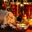 Christmas table - cake, cookies, candles — Stock Photo