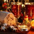 Stock Photo: Christmas table - cake, cookies, candles