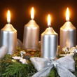 Advent wreath on dark background. — Stock Photo