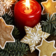 Candle and gingerbread stars on Christmas tree branches. — Stock Photo #27203593