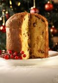 Christmas cake panettone and Christmas decorations. — Foto de Stock
