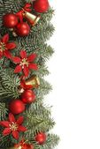 Holiday frame with Christmas tree branches and decorations — Stock Photo