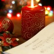 Songbook with christmas carols and christmas decorations. — Zdjęcie stockowe