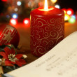 Songbook with christmas carols and christmas decorations. — Foto de Stock