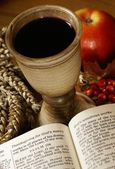 Open Bible and chalice with wine, — Stock Photo