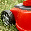 Detail of red cutting machine on grass. — Stock Photo