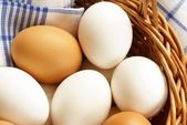 Basket with chicken eggs and dishcloth. — Stock Photo