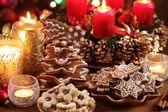 Christmas cookies and decorations — Stock Photo