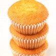 Stock Photo: Close-up of muffins on white background.