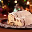 Christmas stollen on a plate — Stock Photo #27388189
