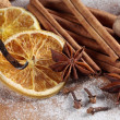 Cinnamon sticks, anise stars, nutmegs, cloves, nuts and vanilla beans — Stock Photo