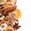 Dry orange and apple slices, spices and Christmas cookies — Stock Photo