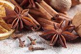 Cinnamon sticks, anise stars, nutmegs, cloves, nuts and vanilla beans — Stock Photo