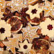 Top view of gingerbread and shortbread cookies — Stock Photo