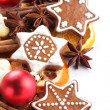 Dry orange slices, spices and Christmas cookies — Stock Photo