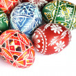 Close-up of Easter eggs on white background. — Stock Photo