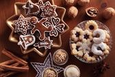 Top view of various Christmas cookies. — 图库照片