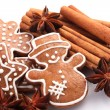 Gingerbread cookies and spices for Christmas baking on white background. — Stock Photo #27952097