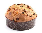 Beyaz zemin üzerinde noel kek panettone. — Stok fotoğraf