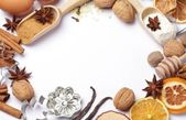 Baking utensils, spices and food ingredients with copy space. — Stock Photo