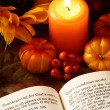 Open Bible, candle, and autumn decorations — Stock Photo #28034433
