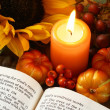 Open Bible, candle, and autumn decorations — Stock Photo #28035159