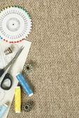 Fabric scissors ans sewing items with copy space — Stock Photo