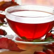 Cup of fruit rose-hip tea and autumn leaves and fruits on a table — Stock Photo