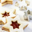 Christmas cookies and cookie cutters — Stock Photo