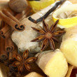 Ginger, anise stars, cinnamon sticks, nutmeg, clove, vanilla beans — Stock Photo #28639297