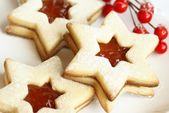 Christmas cookies with jam, star shape — Stock Photo