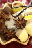 Ginger, anise stars, cinnamon sticks, nutmeg, clove, vanilla beans — Stock Photo