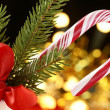 Stock Photo: Candy cane and Christmas decorations