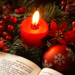 Open Bible and Christmas decorations — Stock Photo