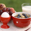 图库照片: Bowl with cereal, milk, fruits and egg