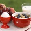 Schüssel mit Müsli, Milch, Obst und Ei — Stockfoto