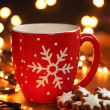 Stock Photo: Mug with hot drink and Christmas cookies