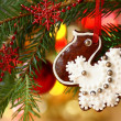 Christmas homemade gingerbread decoration on a tree. — Stock Photo #29361485