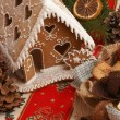 Stock Photo: Gingerbread house and Christmas decorations